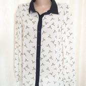 Блуза шифон TU птички р.12 (ог 98, рукав 62)