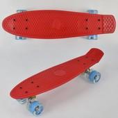 Скейт 0760 свет, красный, доска 55см, колёса PU d 6см