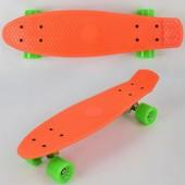 Скейт 7803 оранжевый, без света, доска 55см, колёса PU d 6см