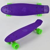 Скейт 7802 фиолетовый, без света, доска 55см, колёса PU d 6см