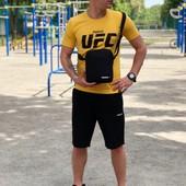 Летний мужской комплект футболка + шорты и барсетка в подарок