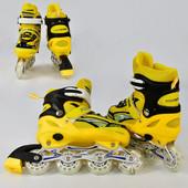 Ролики А 24832 размер M цвет желтый размер 35-38, колёса PVC, d 7см, переднее колесо свет