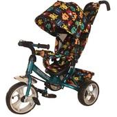 Велосипед коляска с ручкой толкателем Tilly Trike T-344-4 Бирюзовый