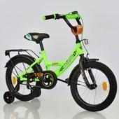 Велосипед 16 дюймов 2-х колёсный С16760 corso салатовый, ручной тормоз,звоночек, сидение с ручкой, д