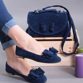 Синий комплект балетки + сумка