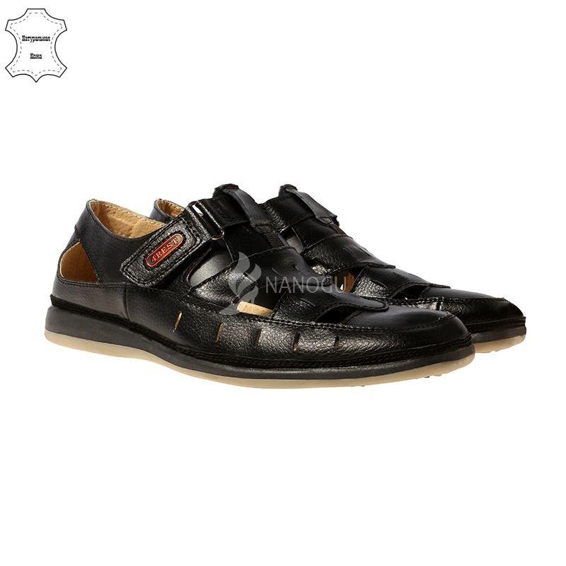 Туфли летние кожаные 4rest usa черные на липучках мужские, цена 599 ... fbc77bb85ab