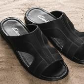 Мужские черные кожаные шлепанцы Clarks 10904