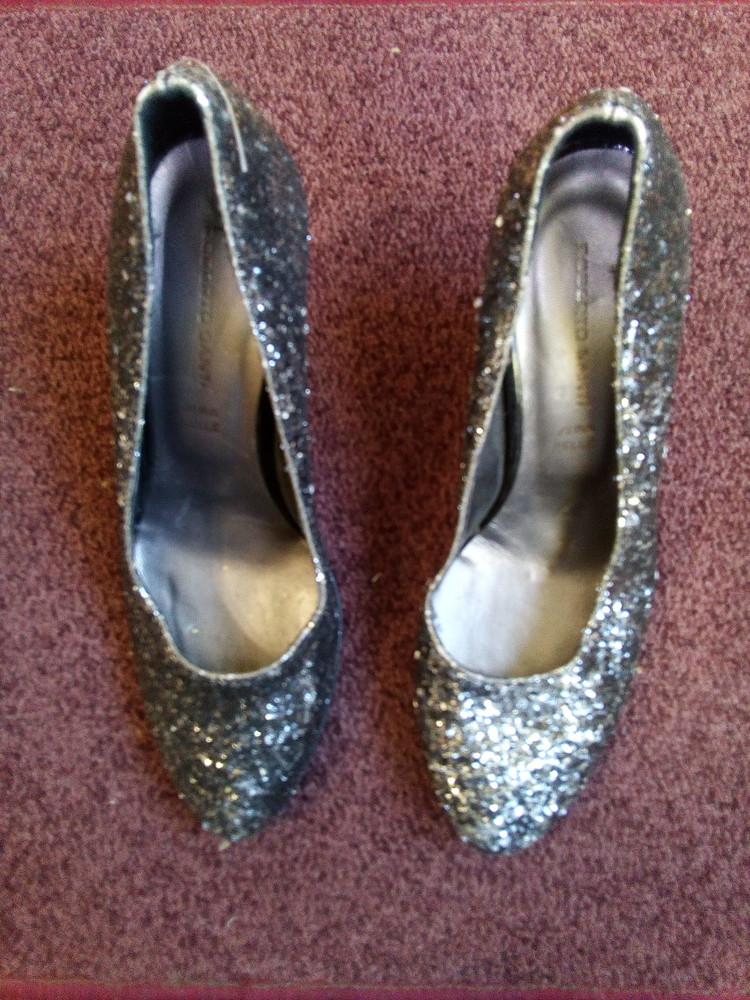 Вечерние туфли roberto santi с блестками серебро фото №1