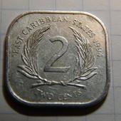 Монета. Карибские Острова. 2 цента 1994 года.