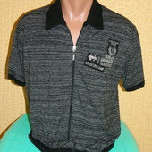 Мужская футболка на молнии черная с серыми полосками р. 50-52 Ravenna