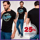 мужская футболка черная De Facto / Де Факто с синей надписью на груди Brooklyn
