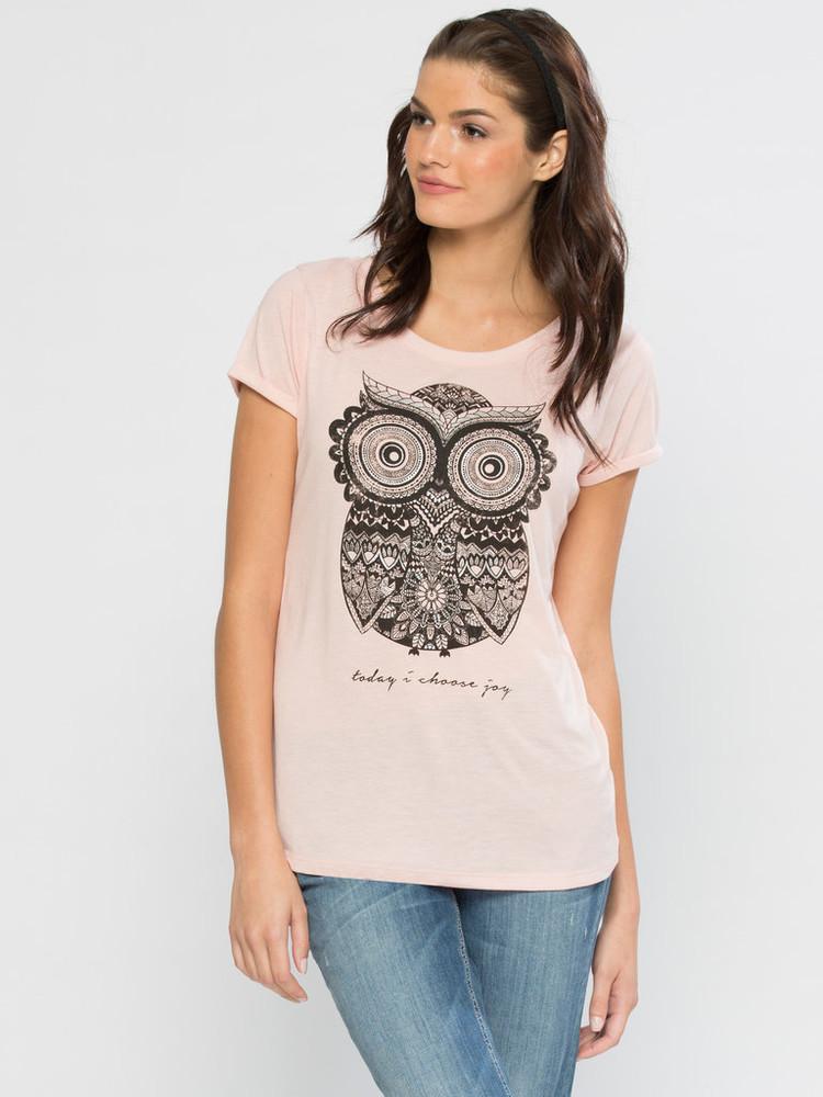 Женская футболка розовая lc waikiki /лс вайкики с совой нежной фото №1