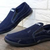Мужские джинсовые мокасины синего цвета (Бл-17ск )