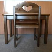 Комплект стол и стул растущий натуральное дерево
