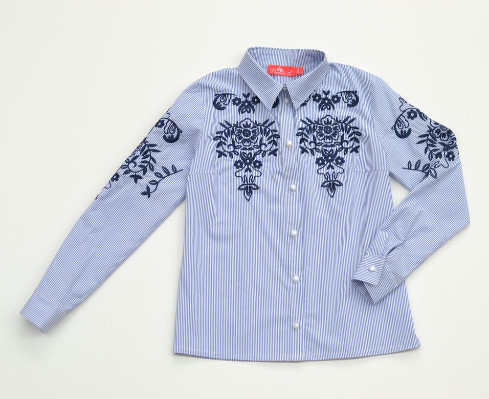 Нарядная блузка в полоску с вышивкой фото №1