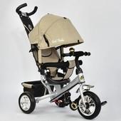 Велосипед 6588 - 0450 Best Trike бежевый, ткань лен, колесо пена, переднее d 25см. задние d 20см