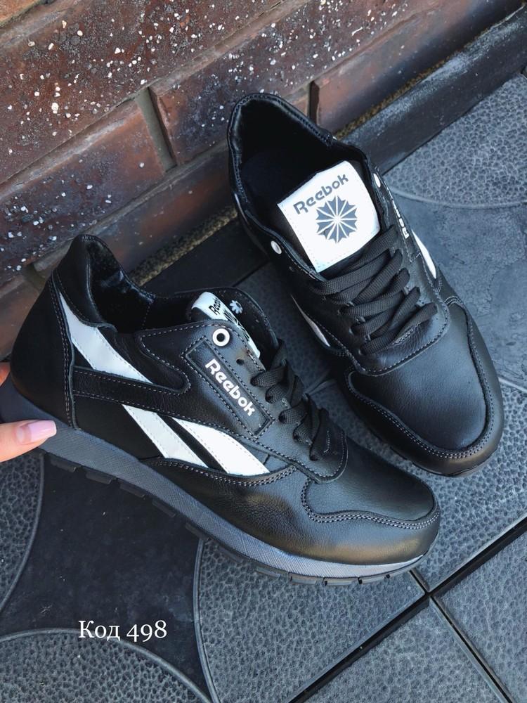 Кроссовки мужские черные копия reebok нат.кожа фото №2