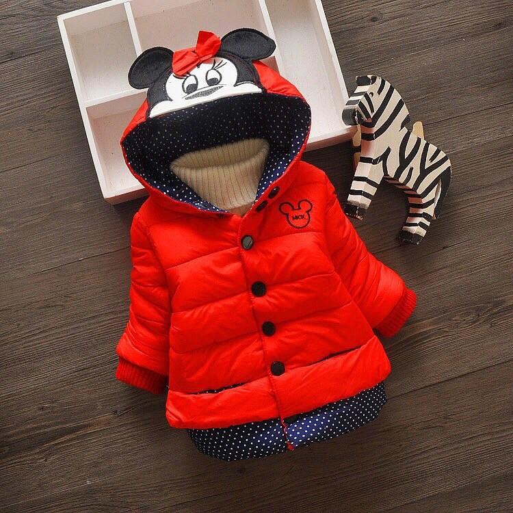 Теплая куртка микки на синтепоне меховая подкладка р 80-100 см фото №1
