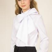 Школьная блуза со съемным бантом р.128-158 в наличии