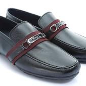 Черные мужские туфли с ремешком BFG Moda.shoes- 004. фирменная Турция