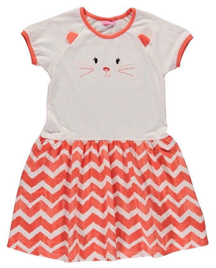 Платье для девочек lc waikiki / лс вайкики бело-красного цвета с котиком на груди фото №1