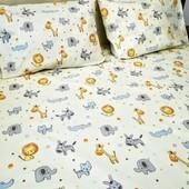 Простыня на резинке в детскую кроватку! Теплая расцветка! Отличное качество!