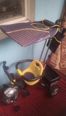 Велосипед детский трёхколёсный метал. с ручкой почти новый торгуместен фото №1