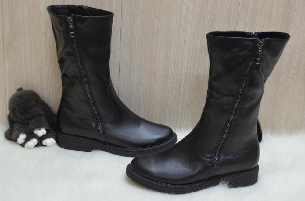 Кожаные зимние ботинки фото №1