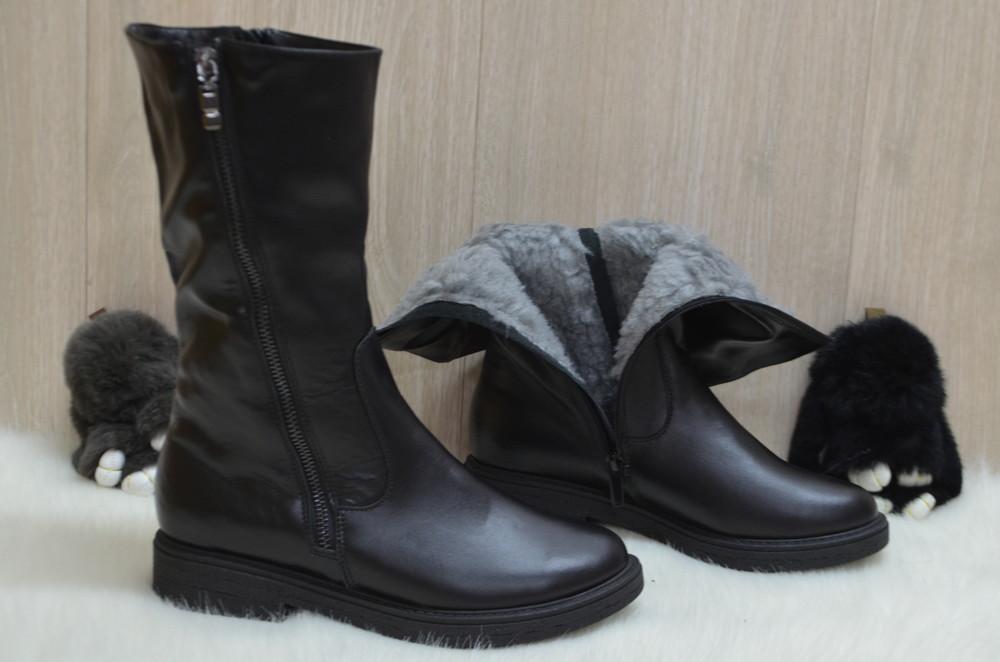 Кожаные зимние ботинки фото №4
