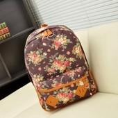 Рюкзак с цветами коричневый