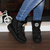 Женские зимние ботинки, дутики. Цвет черный.Р.37-41