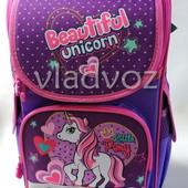 Школьный каркасный рюкзак для девочек понни фиолетовый 3510-5