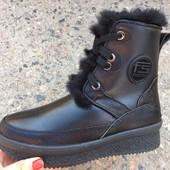 Женские зимние ботинки, кожа и замша