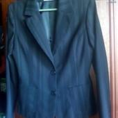 Пиджак черный в полоску, б\у, 46-48