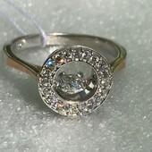 Кольцо серебряное с золотом с подвижным камнем Румба