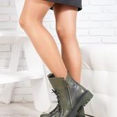 3 цвета!!! оливка/бордо/черный Новинка! деми/зима женские замшевые /кожаные ботинки код:СЛ 6719-28