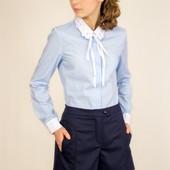 Нежная голубая блуза с цветами на воротнике р. 134-158 в наличии
