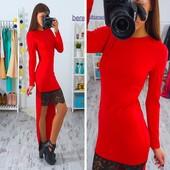 Оригинальное платье (40-46рр) с кружевом