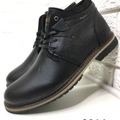 Натуральные кожаные зимние мужские ботинки на меху, код ех-2014