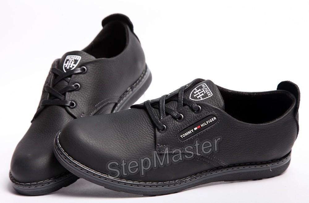 Кожаные мужские туфли tommy hilfiger черные фото №1 175ff11771114