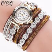 Часы-Браслет с кристаллами, коричневые