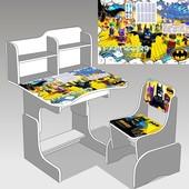 """Парта школьная """"Бэтмен"""", цвет титан. (парта+1 стул), 690*450"""