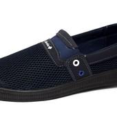 Мокасины-Кеды на лето, синяя сетка Бм-040С