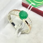 Новое серебряное кольцо зол.пластины куб.цирконий Серебро 925 пробы