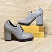 Туфли женские кожа на устойчивом каблуке Vikttorio