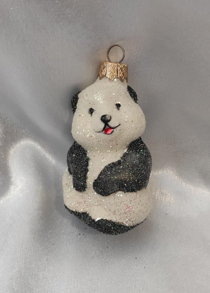Стеклянная игрушка панда фото №1