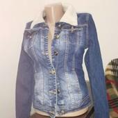 Теплый джинсовый пиджак куртка на меху Elizabetta Franchi на 158-168