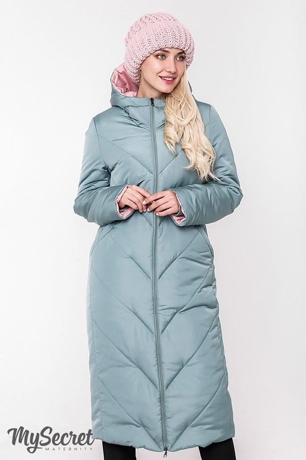 Стильное пальто, куртка для беременных, розовый/оливка фото №9