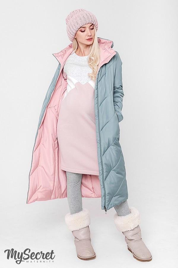 Стильное пальто, куртка для беременных, розовый/оливка фото №1