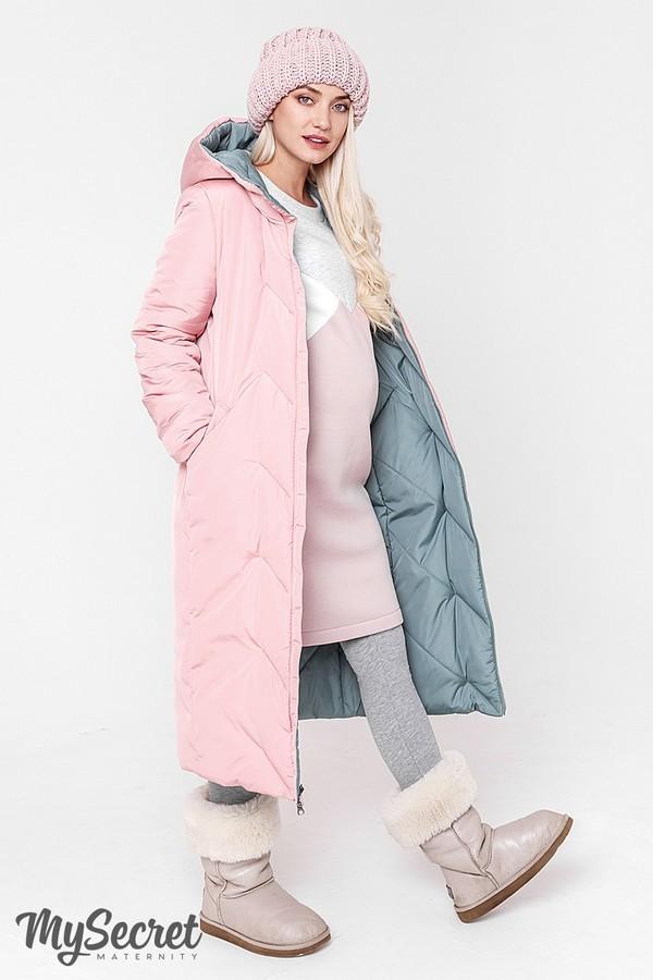 Стильное пальто, куртка для беременных, розовый/оливка фото №2